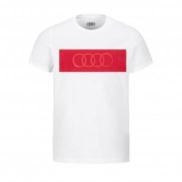 Original Audi T-Shirt Ringe, Herren, weiß/rot