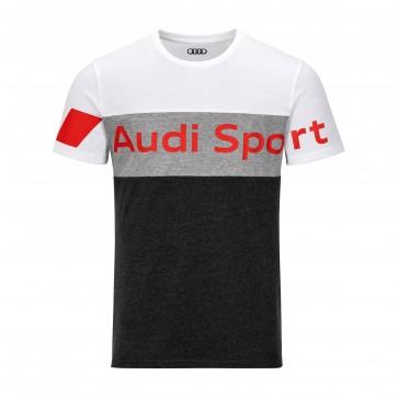 Original Audi Sport Shirt, Herren, grau / weiß