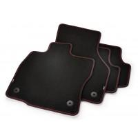 Textilfußmatten vorne und hinten Schwarz/Rot Premium mit GTI Branding, Linkslenker