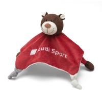 Original Audi Sport Schmusetuch Motorsportbär, rot/braun, Kuscheltuch, 3201900800